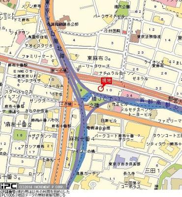 【地図】メインステージ麻布十番Ⅱ