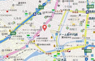【地図】アドバンス大阪ドーム前