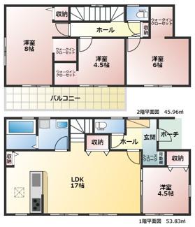 碧南市権現町21-1期新築分譲住宅2号棟間取りです。