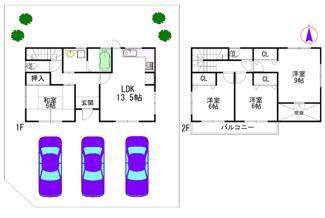 建物参考プラン:間取り4LDK、木造2階建、建物面積延98.53平米(1F:50.51平米、2F:48.02平米)