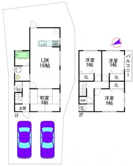 建物参考プラン:間取り4LDK、木造2階建、建物面積延89.42平米(1F:49.68平米、2F:39.74平米)