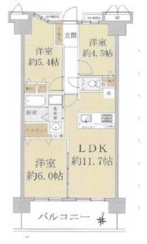 中古マンション 3LDK 専有面積:59.1平米(壁芯)バルコニー面積:10.8平米 南向き