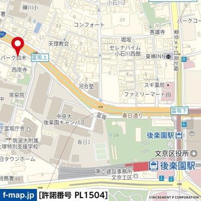 【地図】スカイコート後楽園Ⅱ