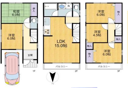 中古戸建て 5LDK 土地面積:54.33平米(壁芯) 建物面積:98.68平米 北向き