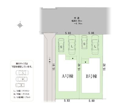 【区画図】浜松市中区海老塚町 新築一戸建て A号棟 HP