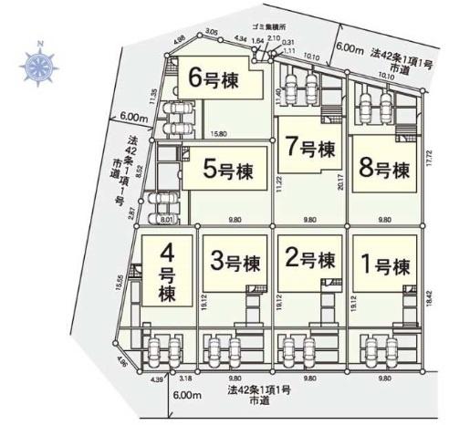 【区画図】野田春日町第6 全8棟