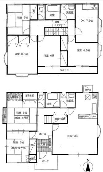 2世帯住宅仕様の2LDK+4DKの大型間取り。