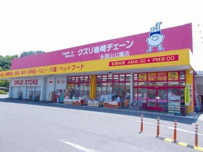 クスリ岩崎チェーン永源山公園店まで800m