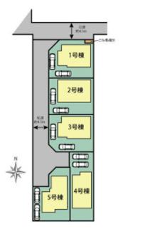 【区画図】平塚市田村1丁目 新築戸建 全5棟3号棟