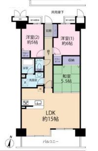 中古マンション 3LDK 専有面積:64.05平米(壁芯) バルコニー面積:8.52平米 南向き