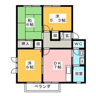 ご家族でゆったり過ごせる3DKの間取りです。前居室に収納スペースがございます。
