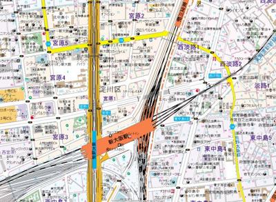 【地図】BRAVI新大阪