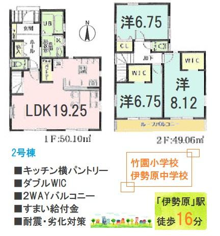 間取りが魅力的な3LDK 広々としたLDKは19.25帖と大きな家具を配置しても圧迫感を感じません。WICが2か所と収納豊富な間取り◎2部屋から出入り可能なルーフバルコニーは使い勝手◎