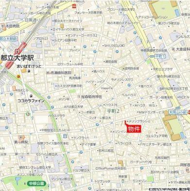 【地図】目黒区平町2丁目