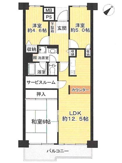 専有面積68.23平米、バルコニー面積7.71平米~4階南東向き、日当たり風通しの良い住居、お部屋がすっきり片付く各室収納付きの3SLDK(納戸付き)