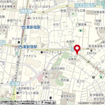 【地図】スカイコートヒルズ新宿