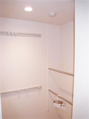 洋室6.3帖のお部屋にあるワンステップクローゼットです!収納したい物のサイズに合わせて棚板などを自由に動かせます☆