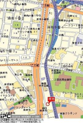 【地図】スカイコート麻布十番