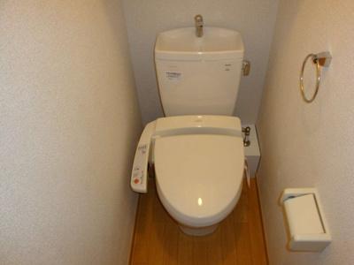 温水洗浄便座付き。上には棚があります。