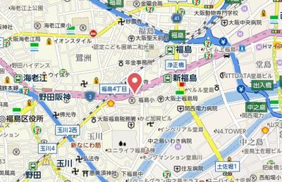【地図】レジデンス西梅田