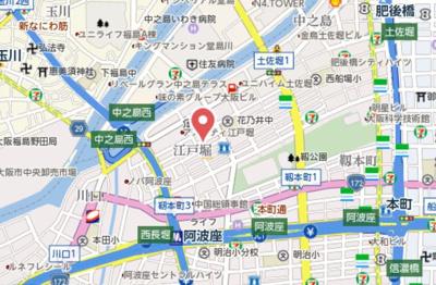 【地図】アネールエレ江戸堀