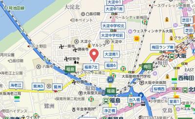 【地図】梅田ウエストレジデンス