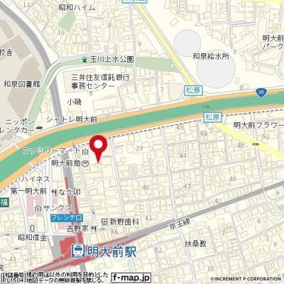 【地図】プレール明大前