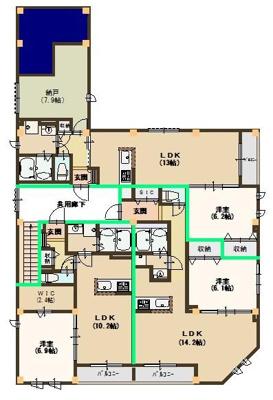 203号室は南西角です。