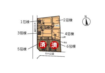 2号棟 南向きの新築4LDK 2台分の駐車スペース有 道路幅も6mのため駐車しやすい立地