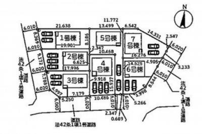1~7号棟 前面道路(西側6.0m 南側6.0m 東側6.0m)