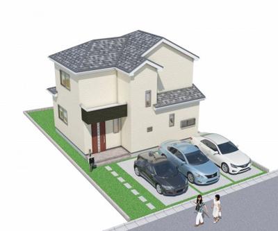 建物完成イメージ 3台分の車のスペース有 並列可能 前面道路約6m