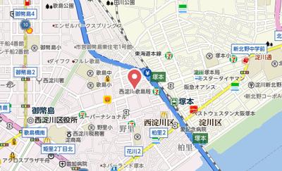【地図】プレサンス塚本ミッドマーク