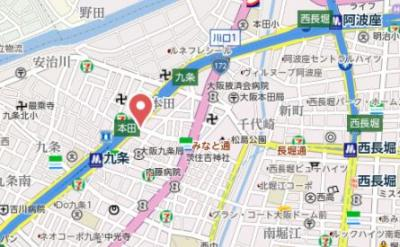 【地図】プレサンスOSAKA DOMECITYクロスティ