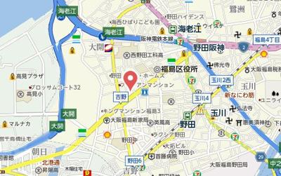 【地図】アドバンス西梅田Ⅱ