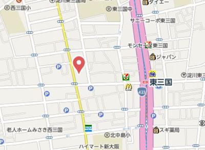 【地図】アロハ新大阪