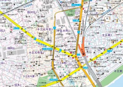 【地図】セレッソコートリバーサイドOSAKA