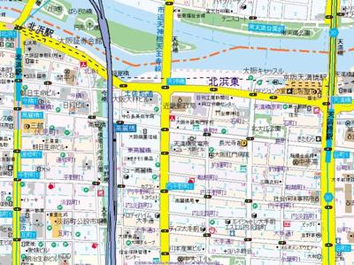 【地図】スワンズシティ天満橋