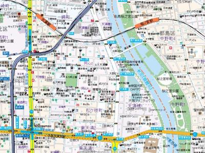 【地図】R SQUARE 東天満