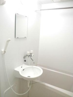 鏡・洗面台付き。