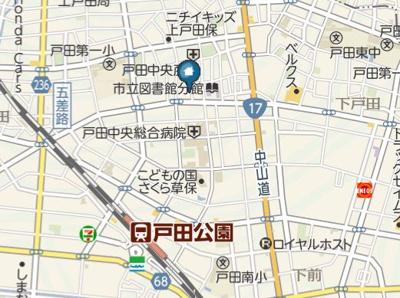 【地図】ディアネクスト戸田公園