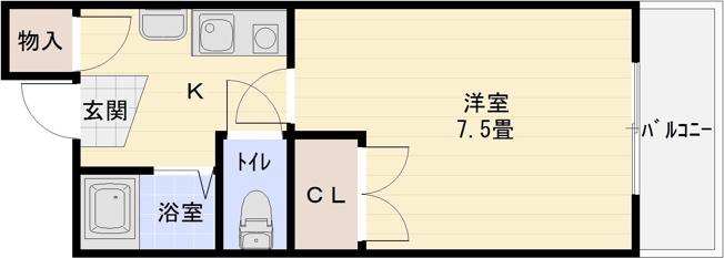 河内国分駅 柏原市旭ヶ丘3丁目 1K