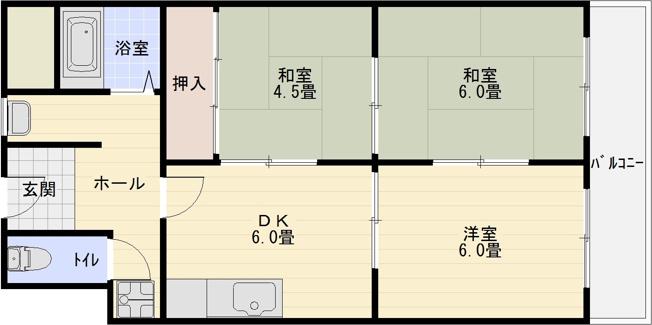 コーポ西村(柏原市旭ケ丘) 3DK