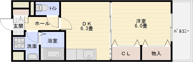 柏原駅 堅下駅 1DK 独立洗面台