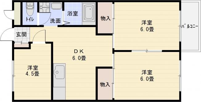 コーポ柏原(柏原市旭ヶ丘)  3DK