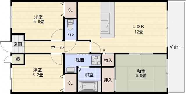カーザdiポルタ(柏原市国分西) 3LDK