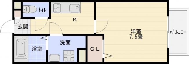 エスポワール(柏原市片山町・河内国分駅) 1K