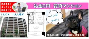 礼金0円★ペット可の賃貸マンション★1LDK・二人入居可の画像