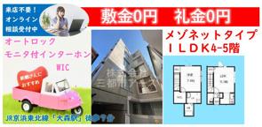 敷金0円・礼金0円★メゾネットタイプ1LDK賃貸マンションの画像