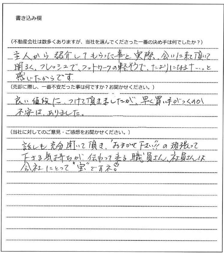 吉賀 奈美枝様(仮名)【売却】の画像