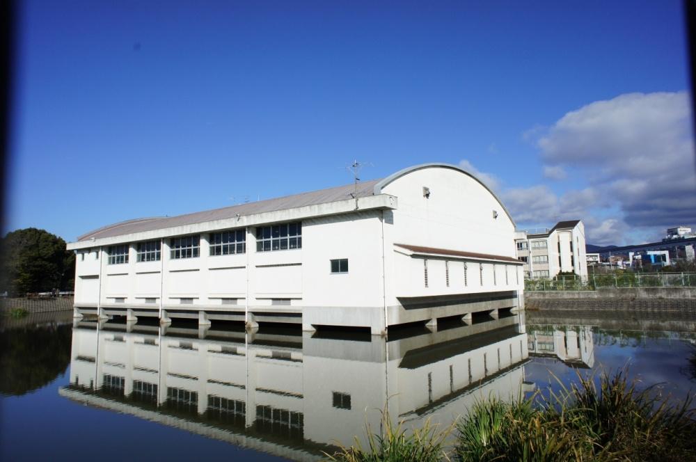 池に浮遊する体育館‥の画像